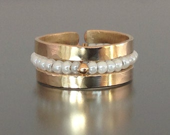 SALE .... SPECIAL… 3 Stackable Rings Creamy Freshwater Seed Pearls &18k Gold Bead, Two 14k Gold Fill  Rings