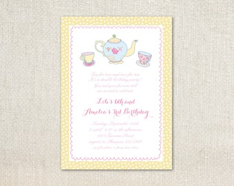 Girls tea party birthday party invitations