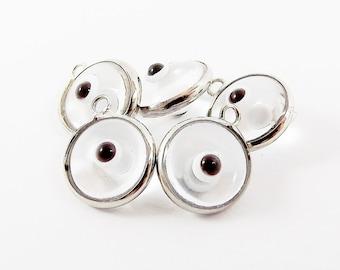 5 Translucent Clear Evil Eye Nazar Artisan Glass Bead Charms - Silver Plated Brass Bezel