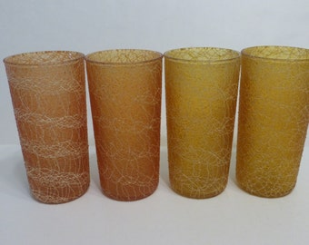 Mid Century Spaghetti Tumblers Amber and Gold