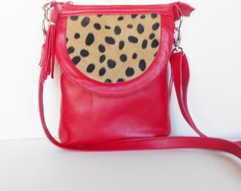 Red leather crossbody bag, leather shoulder bag, red leather with cheetah leather trim.