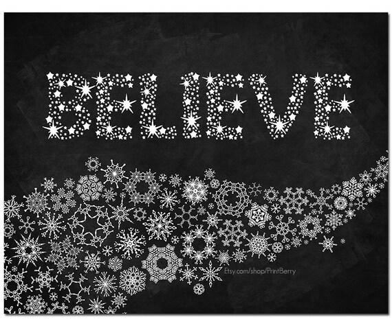 Religious Christmas Wall Decor : Items similar to printable believe sign christmas wall art