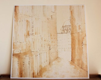 FLORENCE ART PRINT, Piazza Duomo, Tuscany Wall Decor, Italy Print, Watercolour Painting, Pen Drawing, Clare Caulfield, Neutral Colour Beige