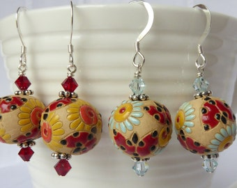 Ladybug Earrings; Ladybird Earrings; colourful earrings; garden earrings; floral earrings