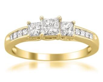 14k Yellow Gold Princess-cut 3-Stone Three-Stone Diamond Engagement Wedding Ring (1 cttw, H-I, I1-I2)
