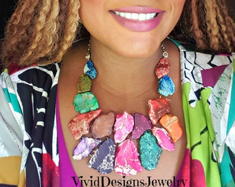 Colorful Statement Necklace -  Multi Color Turquoise Bib Necklace