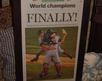 Very Rare 2004 Boston Red Sox original framed newspaper World Series Champions rustic cedar dark finish