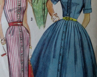 Vintage1950s Simplicity Sewing Pattern #1946 Shirt Dress with Slim and Full Skirt Variations Size 12 Bust 32  **Epsteam