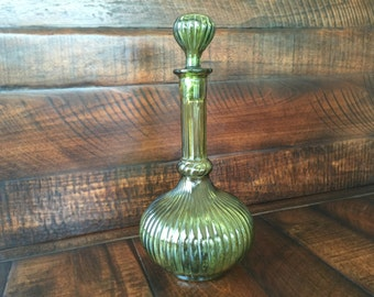 Antique Depression Glass Wine Decanter - Olive Green with Original Glass Stopper