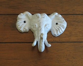 Elephant Wall Hook / Cast Iron Elephant / Pale Blue or Pick Color / Vintage Inspired Wall Hanger / Nursery Hook / Children's Safari Room