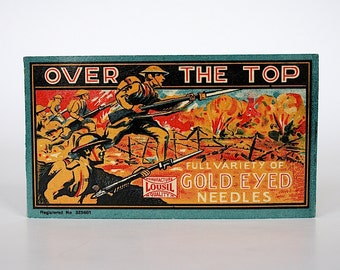 Over The Top - Vintage Sewing Needles - Sewing Needle Book - Gold Eye Needles - Made in Germany - Sewing Needle Case - WW 1 Dough Boys