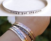 Thin Cuff Bracelet. Trust the Universe. Yoga Jewelry. Dainty Custom Cuff. Rose Gold. Gold Filled