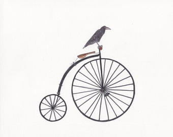 "1870 bike and raven wall art 8""x10"" print"