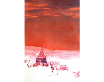Watercolor painting of ruined Burmese temple at ancient city of Bagan (Pagan)- Burma.  Art print.  Watercolor print.  Original watercolor