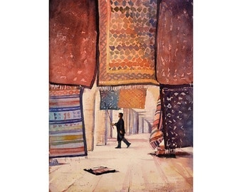 Tunisian man dusting off Persian rugs at shop in Saharan oasis town of Tozeur- Tunisia.  Art Tunisia watercolor painting carpet wall print