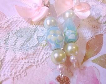 Pretty pastel beaded earrings-romantic soft bead earrings-satin pink bow earrings-fairytale earrings-gift for her