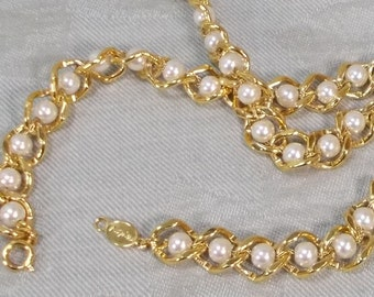 Vintage Napier Chain and White Pearl Necklace  0602