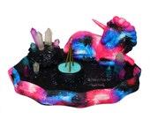 Incense Burner // Cosmic Unicorn Sculpture // Glowing Crystals // Majestic // Fantasy // Unicorn Figurine // Upcycled // Desk Accessory