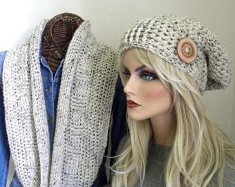 Winter Hat & Scarf Set, Sawgrass Tweed Infinity Scarf Set, Slouchy Hat, Infinity Scarf, Crochet Infinity Scarf, Warm Hat