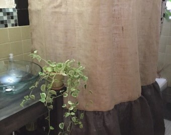 Burlap Shower Curtain, Natural/Dark Brown Burlap With Shirred/Gathered Bottom Shower Curtain, Rustic Shower Curtain, Country Shower Curtain