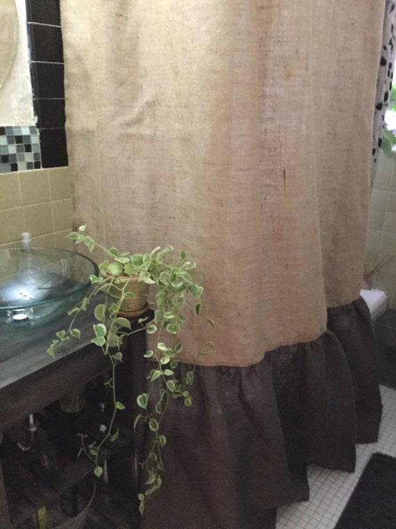 Burlap Shower Curtain Natural Dark Brown Burlap With