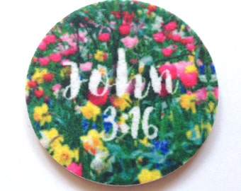 Car coasters for your car cup holder - Set of two super absorbent car coaster John 3:16 - Free Shipping - Contains an Antibacterial Agent