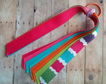 CLEARANCE- Ribbon Ponytail Streamers, Super Pink, Hot Pink, Orange, Pale Green, Light Purple, and Light Turquoise, M2M Surf Adventure