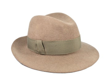 Grey Felt Fedora Hat Wide Brim Fedora Womens Gutter Dent Crown Womens Hats Trendy