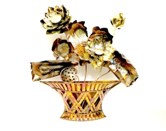 Large Metal Wall Decor, Basket of Flowers, Hammered Metal, Hammered Metal Large Flower Basket, Indoors or Garden Decor, Made in Hong Kong