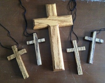 Hand crafted Christ Church Cleveland NC Wooden Cross Cruxifux  Lot of 5