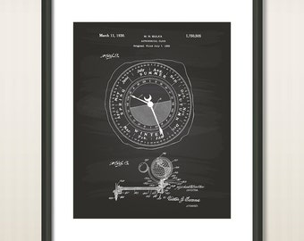 Astronomical Clock 1922 Patent Art Illustration - Drawing - Printable INSTANT DOWNLOAD - Get 5 Colors Background