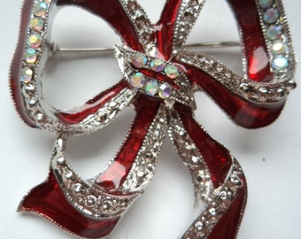 Unsigned Red/Clear Rhinestone Bow Brooch