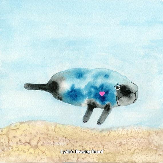 Manatee Art, Endangered Species, Marine Art, Ocean Artwork, Whimsical Art, Art for Kids Room, Sea Creatures, Manatee, Kids Room Wall Decor