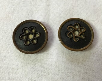 Two Vintage Metal Buttons with Decorative Inset
