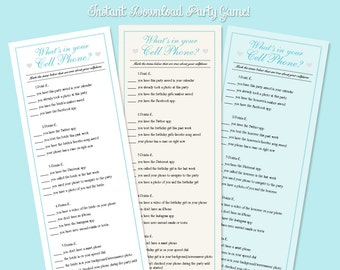 Blue What's in your Cell Phone Party Game for Bridal Showers, Baby Showers and Birthday Parties!