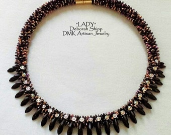 """TUTORIAL ONLY - """"LADY"""" Triple Row Drop Kumihimo Necklace"""