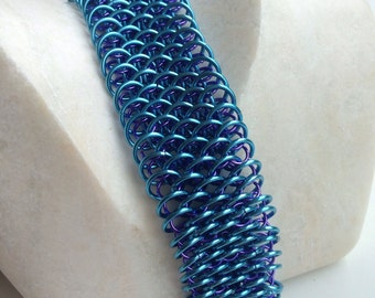 Chainmail bracelet, blue and purple dragon scale chainmaille cuff, bright handmade chain mail chain link jewelry menswear made by misome