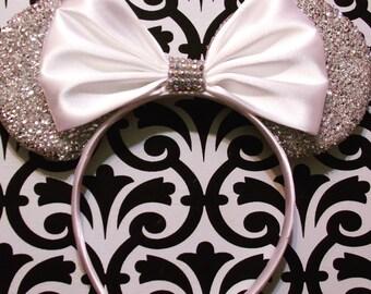 White Satin Elegant Bridal inspired Silver Sparkle Minnie Mouse Headband Ears
