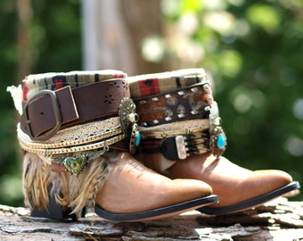 Upcycled REWORKED Tribal boots vintage boho COWBOY BOOTS - custom boho boots Festival Boots Gypsy boots Peasant boots Embellished