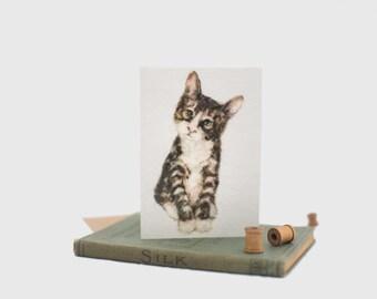 kitten card, tabby card, cat greeting card