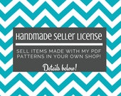 Handmade Seller's License - Pattern Licensing - Sell handmade diapers made with my PDF sewing patterns -Instant Download- Cottage License