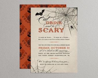 Printable Halloween Invitation - Eat Drink & be Scary (Orange-Vintage)