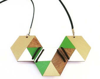 Handpainted Timber Hexagon Necklace with Leather Detail