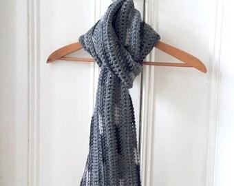 Long Grey Crochet Scarf w/Black, White, Grey Stripes