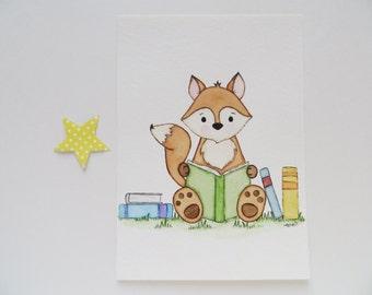 Nursery art, watercolor painting, clever fox, original painting, Children's wall decor, nursery fox