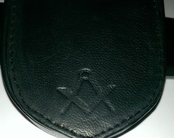 Leather  Coin Pouch with masonic S&C debossed