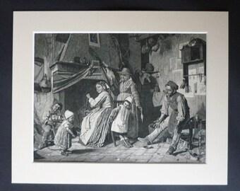 jaren 1880 antieke Genre afdrukken door Gaetano Chierici, schoenmaker decor, Baby's First Steps, schoenmaker cadeau, Home Workshop Wall Art Italiaanse familie leven