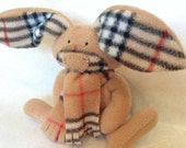 Brown Bunny - classic camel plaid, stuffed rabbit, nature baby gift, waldorf, canada, baby shower gift, fashion for fall, fffofg
