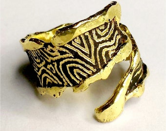 Forged, brass adjustable ring with zebra design