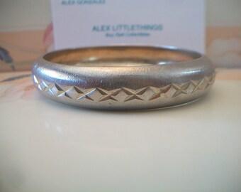Vintage X Design Silver Bangle Bracelet Metal Costume Jewelry